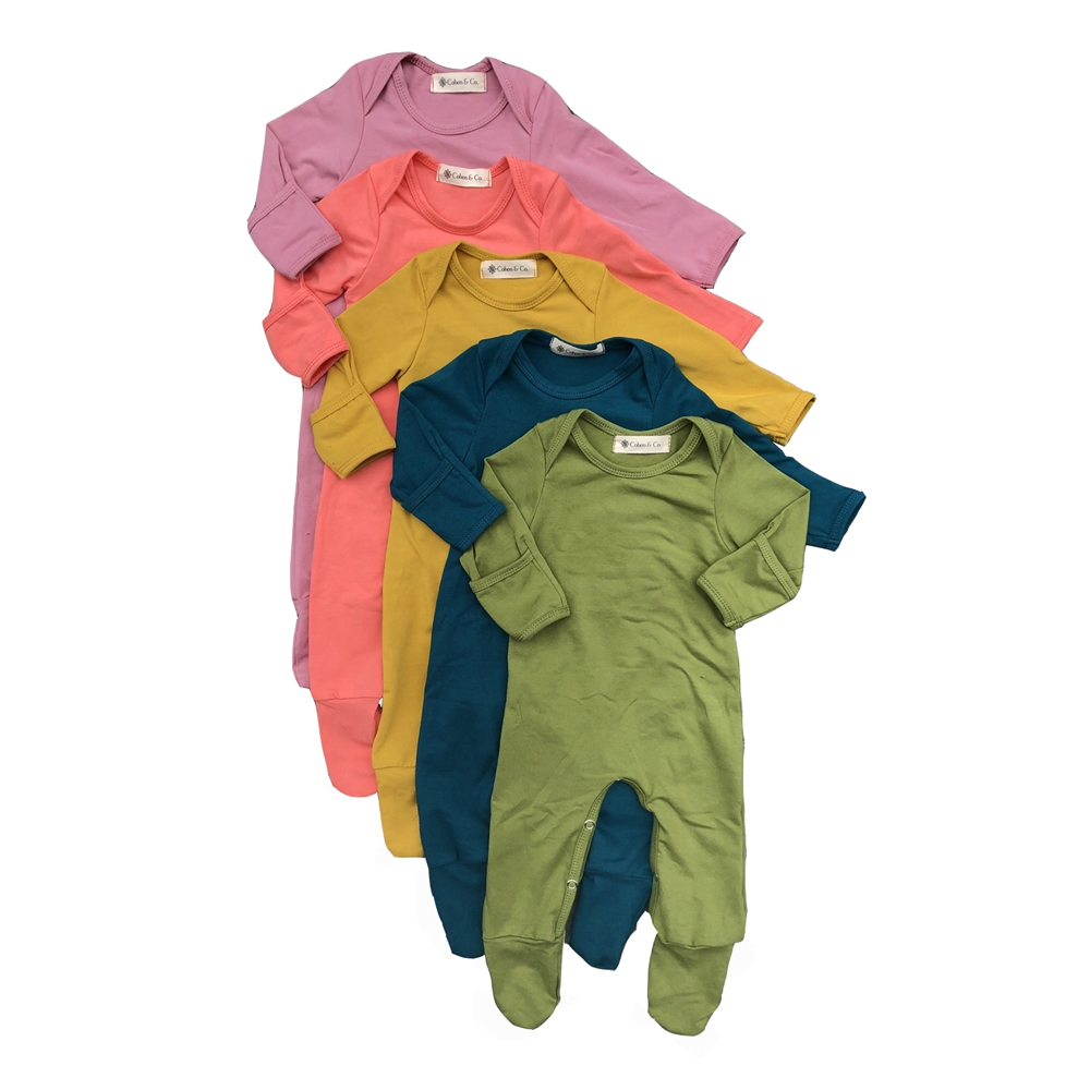 Barboteuse en coton à manches longues pour bébé, combinaison pied et main, peut être repliable, pyjama pieds pour enfants