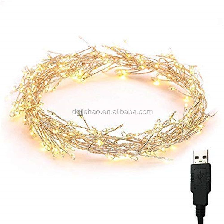 Holiday & Wedding decoration USB power firework lights led mini copper wire string light USB powered for christmas decoration