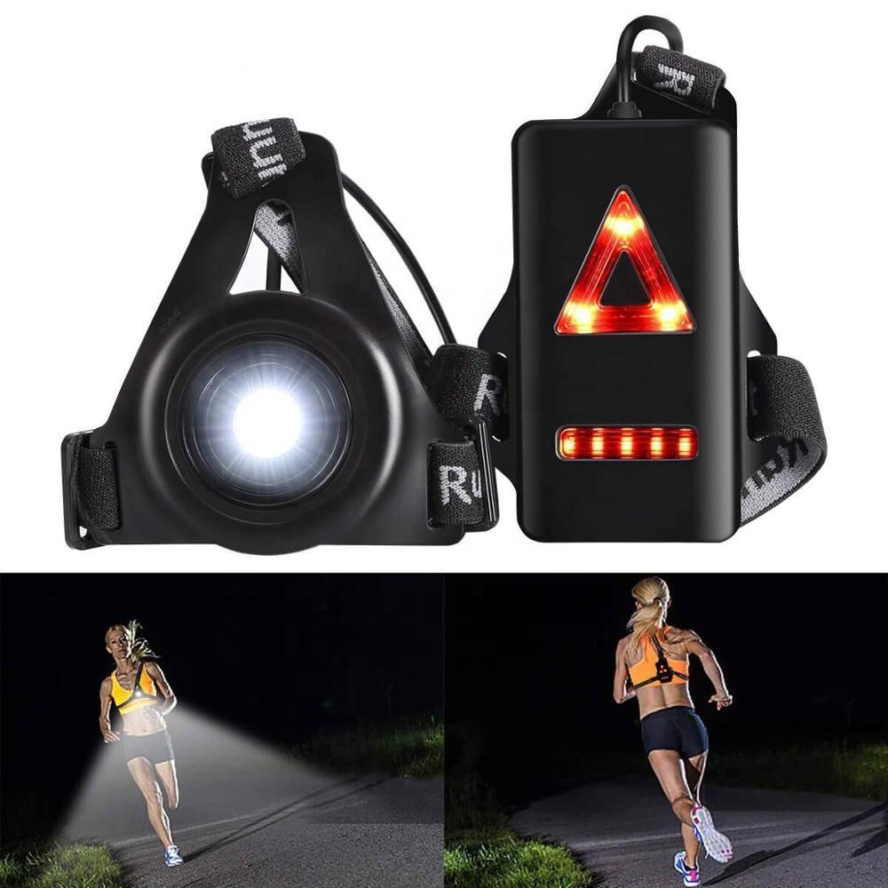 야외 야간 조명 조명 가슴 라이트 경고등 충전식 배터리 캠핑, 하이킹, 달리기, 조깅