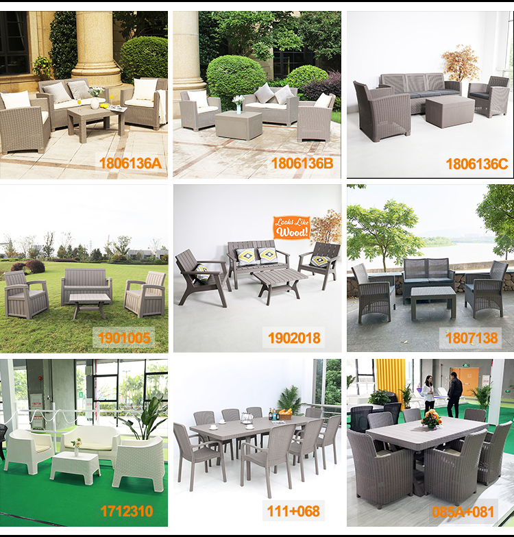 Wholesale 4-Seater  Rattan PP Injection Furniture Outdoor Garden Sofa Sets