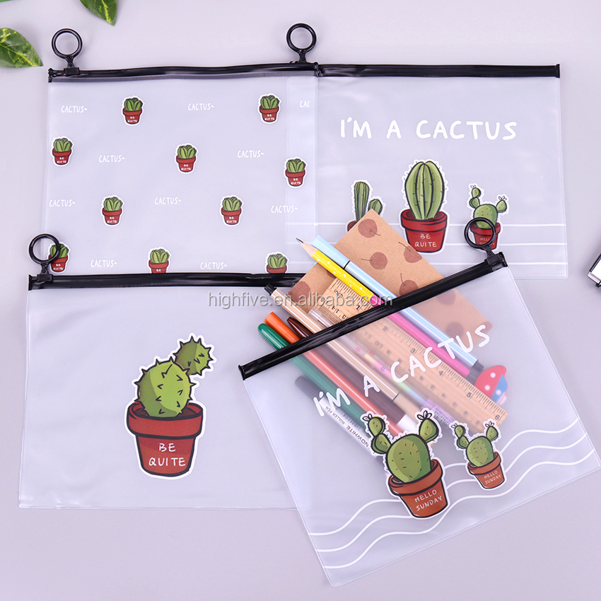 Cute Cactus Transparent Travel Cosmetic Bag Women Make Up Case Waterproof Female Toiletry Bags Pencil Pouch Organizer