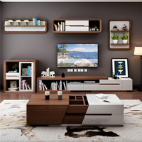 Modern wholesale wooden TV stands Living Room Furniture Entertainment Unit Lowline TV Cabinet storage coffee table TV console