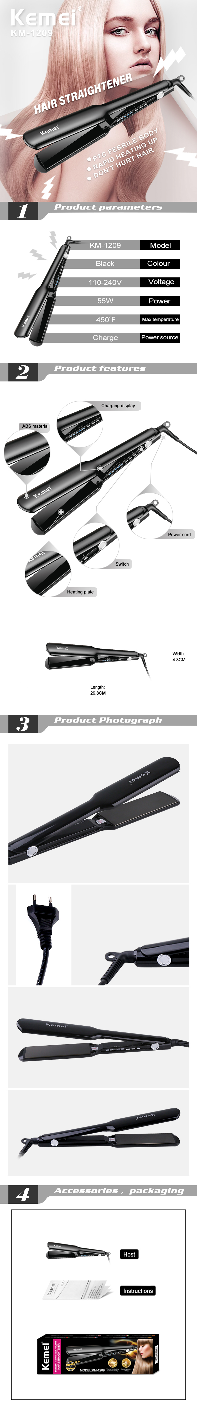 Kemei KM-1209 450F Hair Straightener Heating Plate Straight Hair Styling Tool Fast Warm-up Thermal Performance With LCD Display
