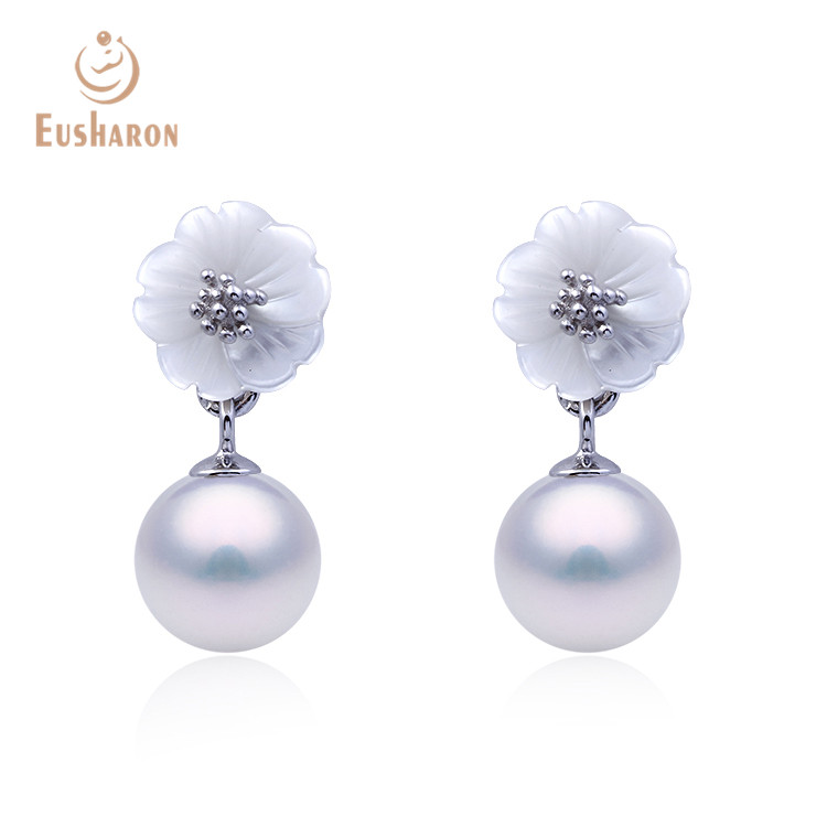 Spring Summer Styles <strong>Sterling</strong> <strong>Silver</strong> 925 <strong>Drop</strong> Shell Flower Pearl Jewelry <strong>Earring</strong>