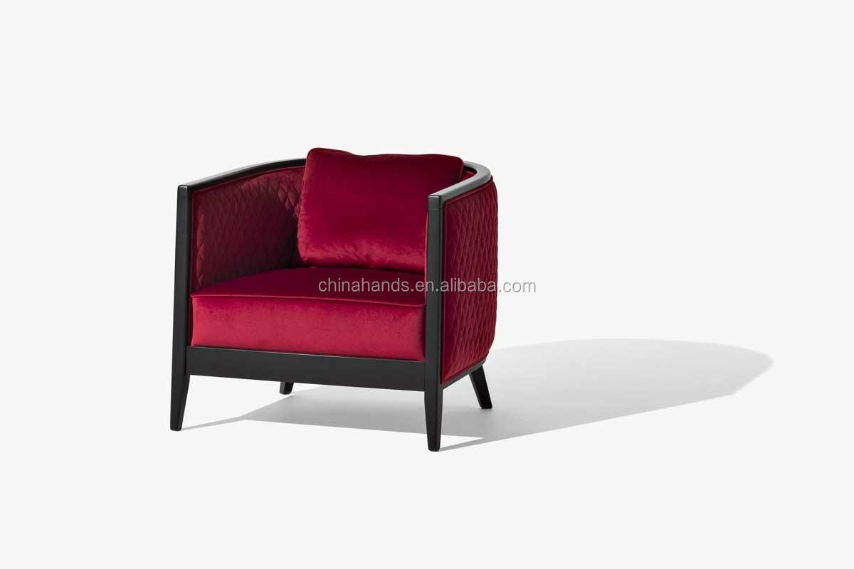 Custom Made European Style Velvet Fabric Living Room Lounge Chair Arm Chair