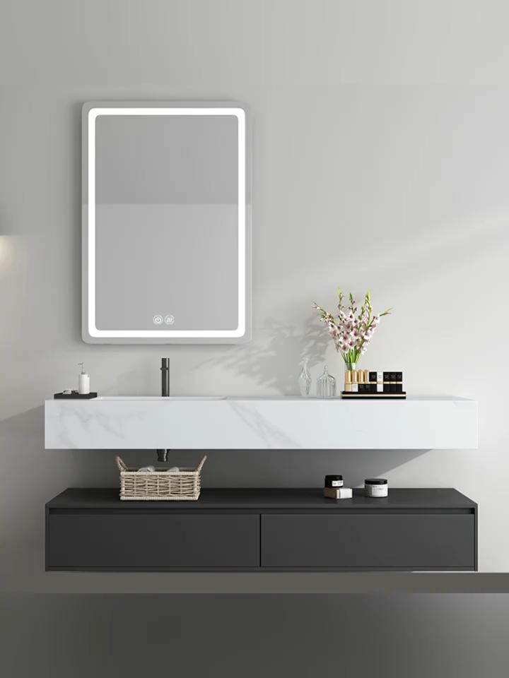 Otel özelleştirilmiş tasarım yeni stil çin inç derin ile 60 İnç banyo vanity kaya mermer yüzey tezgah
