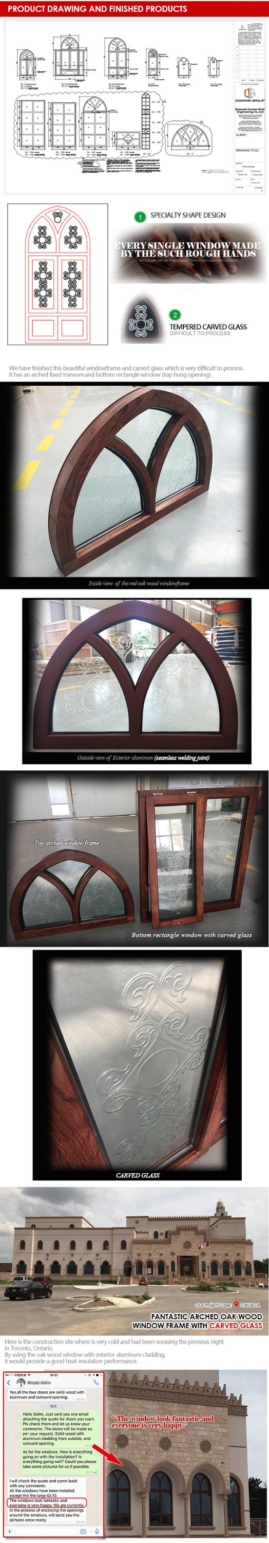 Philadelphia wholesale wooden double glass windows with stained glass