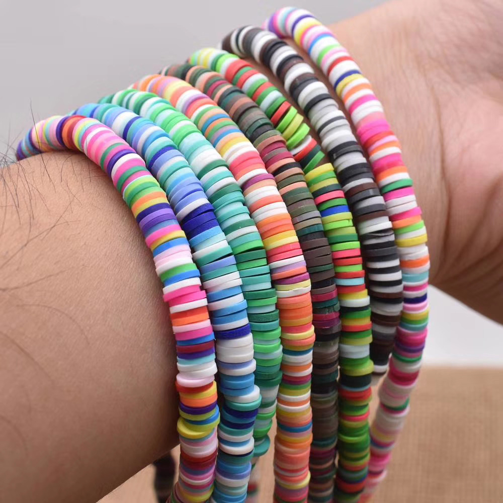 New DIY Product Rainbow Spacer Ring Multi Colors Polymer Clay Gasket Beads For Bracelet And Necklace