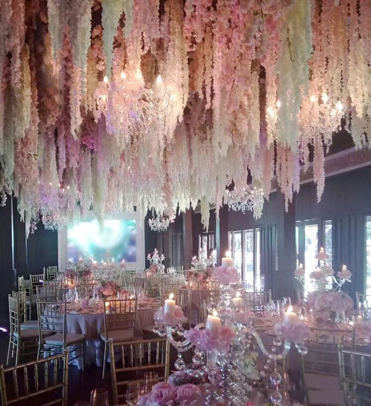 Artificial Wisteria Long Hanging Bush <strong>Flowers</strong> Hanging <strong>Flowers</strong> Vine Garland for Wedding