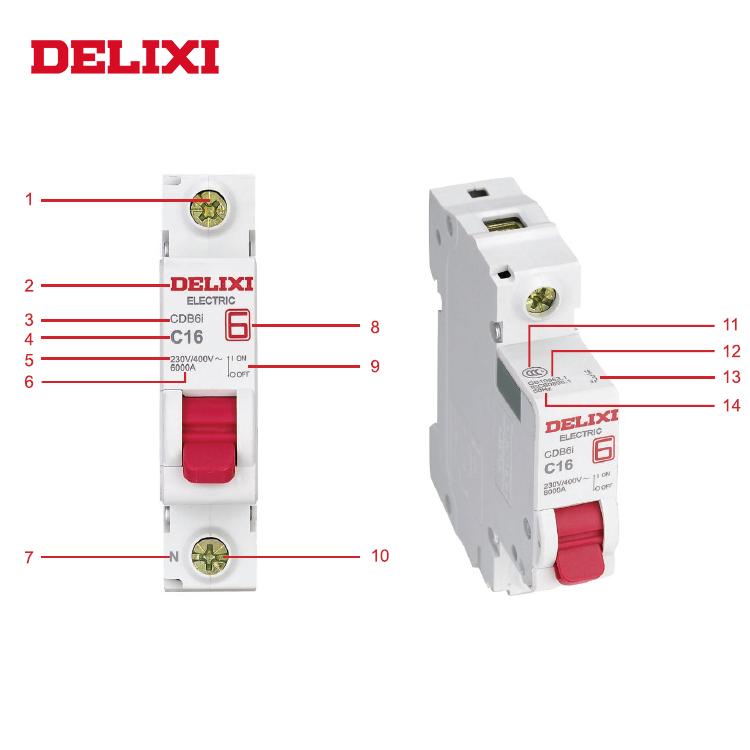 DELXI DZ47s 2 Pole DC MCB 10A 16A 20A 25A 32A 40A 50A 63A 20 MCB Air Mini Circuit Breaker