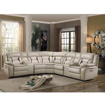 living room furniture genuine leather sofa set corner sectional group 7 seater recliner sofa set with console