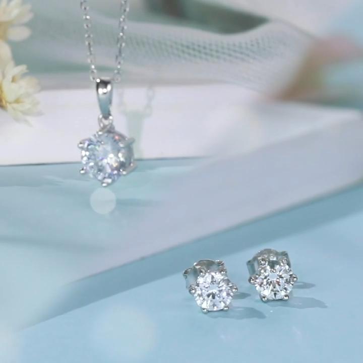 Zuanfa Bridal Jewelry 6 Prong Set 1CT 18Inch Moissanite Kim Cương 925 Sterling Silver Necklace Set Trang Sức Phụ Nữ Cho Đám Cưới
