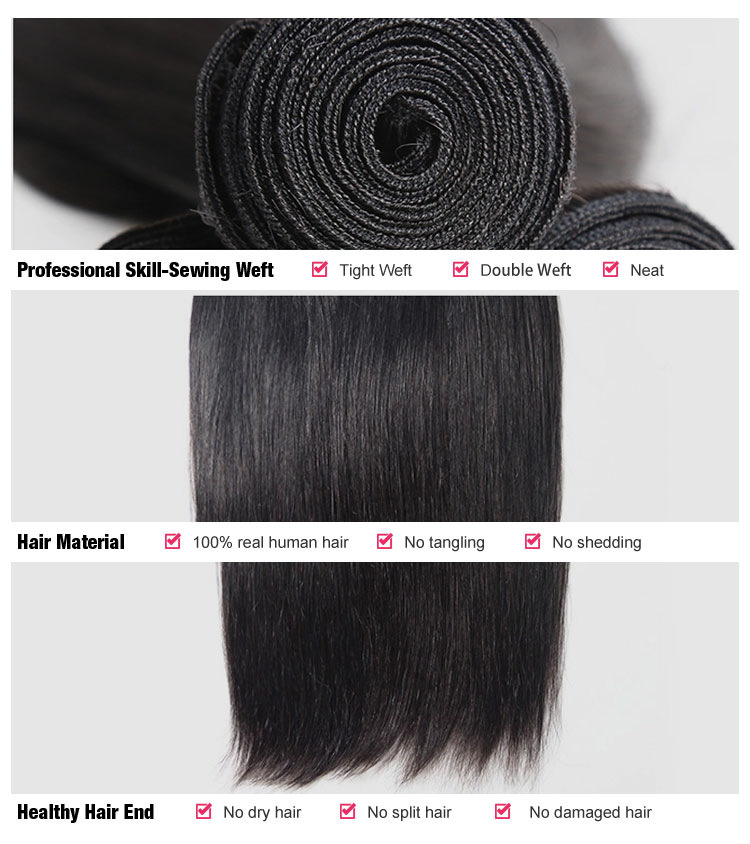 Free Sample Hair Bundles Brazilian Virgin Straight Hair Silk Base Lace Closure Unprocessed Human Hair Extension