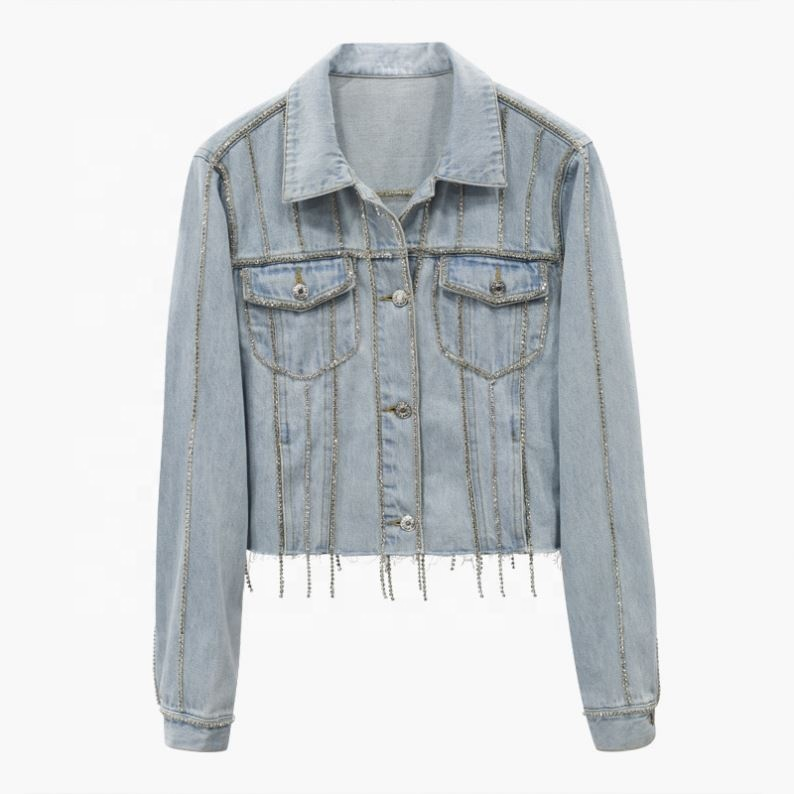 Stock women fashion cool Casual Slim fit Short light blue silver bling Rhinestone crystals beading tassels denim jacket coat фото