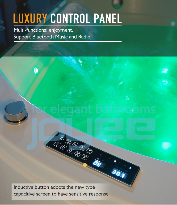 JOYEE bathroom small indoor computer controlled spa hot tub round small whirlpool bathtub massage for 2 lover sex
