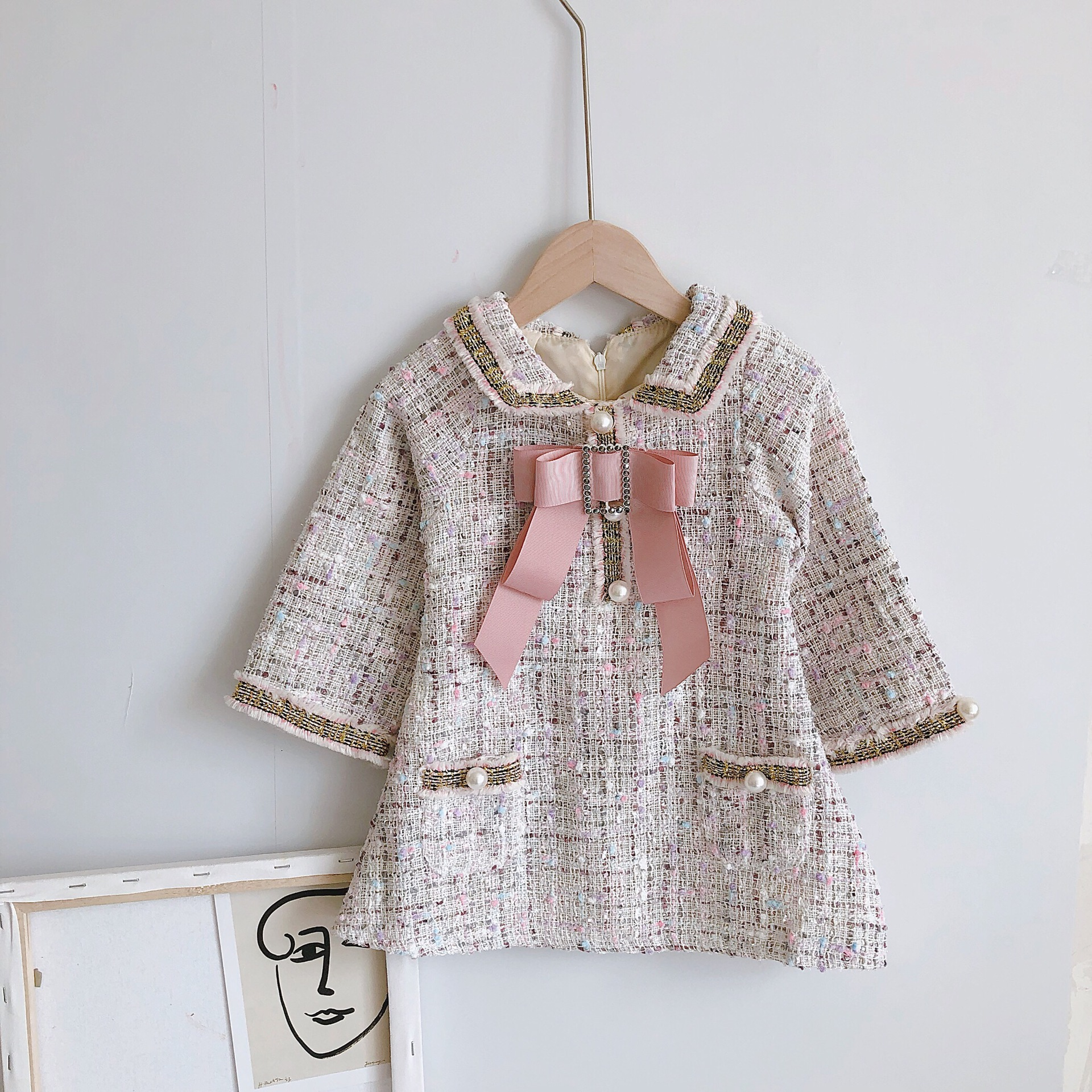 S60032B the spring European style baby clothes girls dress bowknot princess dress