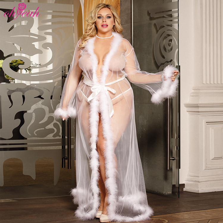 Handmade fur white hot see through mature <strong>women</strong> sexy nightgowns long bridal robes