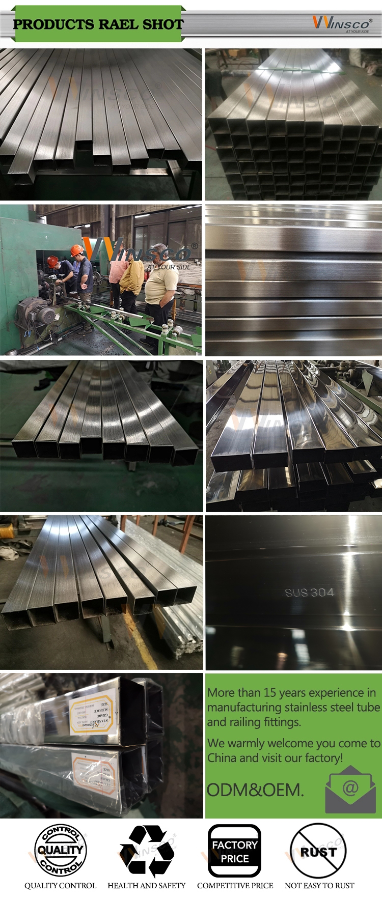 Mirror polished satin finished tube EN inox ASTM 304 grade stainless steel square pipe welded tubing harga