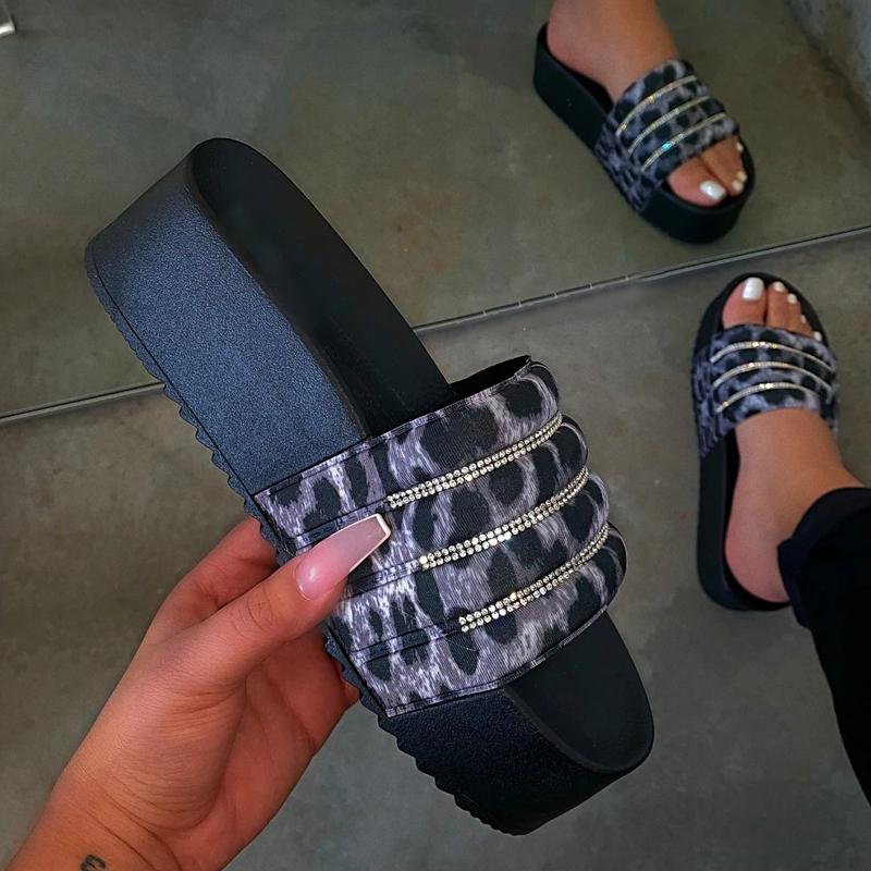 2021 New women's platform slippers with diamond slide sandals Pink Black EVA women's slide