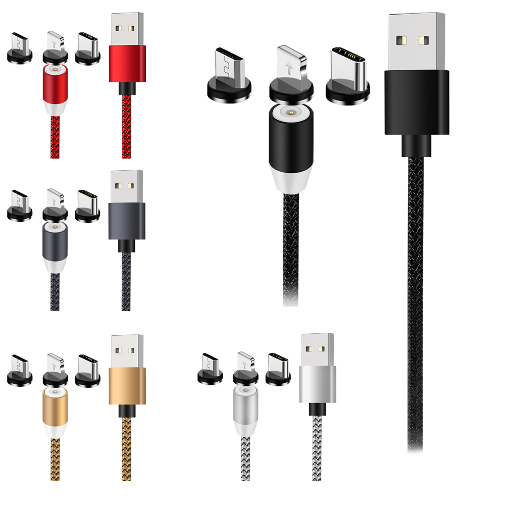 LED Magnetic 3 in1 USB Cable Used for Lightning Type C Micro USB