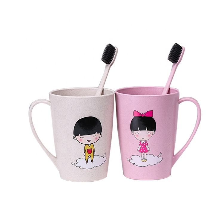 AFTCE070 Kids Reusable Ice Bottle Biodegradable Plastic Rice Husk Coffee Baby Cup with Straw