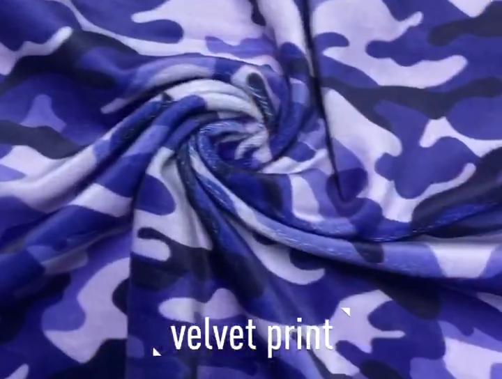 Hiçbir MOQ streç baskı özelleştirilmiş tasarım dijital baskı özel desen yumuşak polyester kadife kumaş
