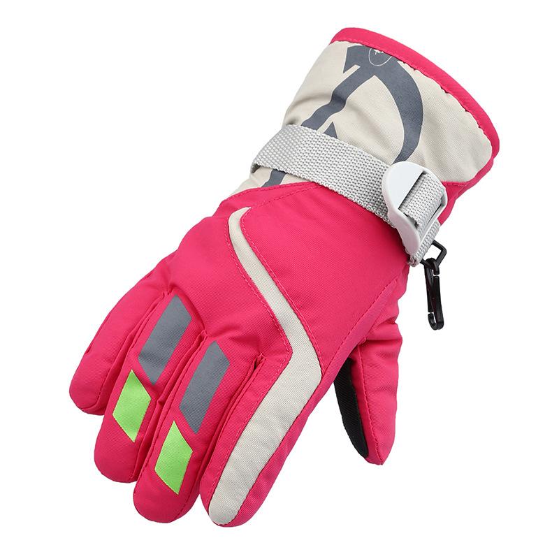 Ski Snowboard Gloves Men Women Children Waterproof Black Rose Red Winter Cold Weather Warm Snow Glove Windproof Lovers Style