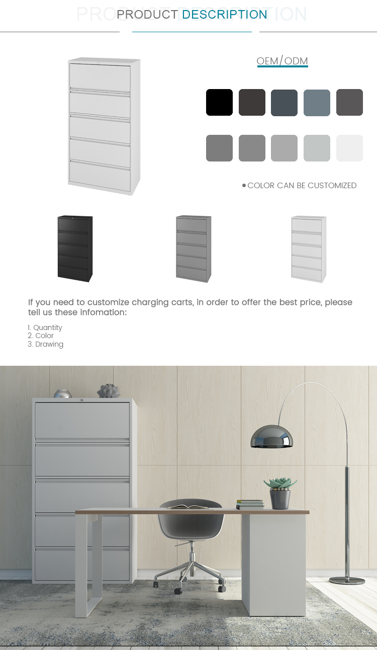 Wholesale High Quality Modern 5 Drawers Steel Storage Lateral Filing Cabinet