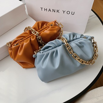 2020 New Trendy Big Capacity Armpit Bag Thick Gold Chain Soulder Handbags Soft PU Leather Dumpling Bag