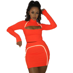 Women Two Piece Suit crop top with skirt set Summer Ladies Neon Green Clothing