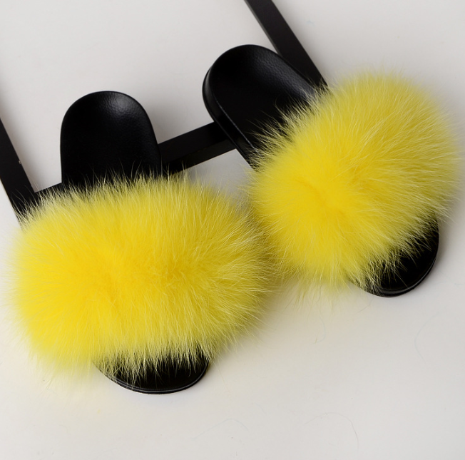 Factory wholesale <strong>bright</strong> color lady fox slides furry sandals fur slippers for sale