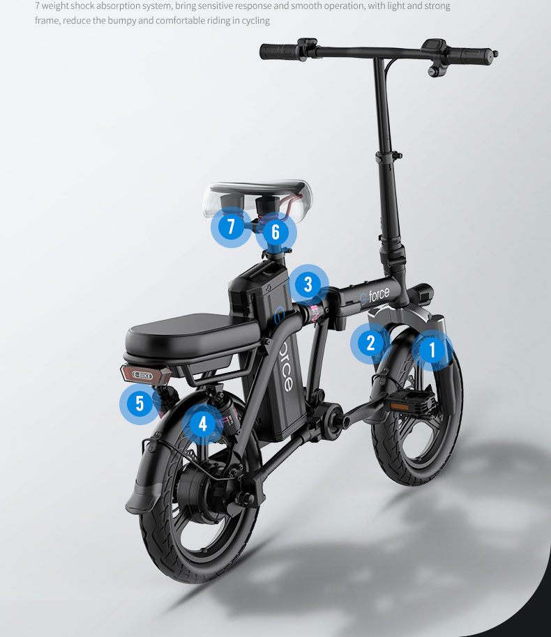 G-FORCE Electric Bicycle 14 Inch Electric Cycle Foldable Bike For Adults