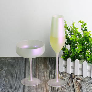 Electroplated cheap drinking glass cup champagne goblet white color wine glasses