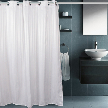 Water proof hookless shower curtain fabric for hotel