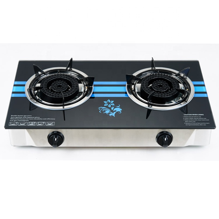 China fashion home kitchen hot sale tempered glass 2 burner electric freestanding gas stove