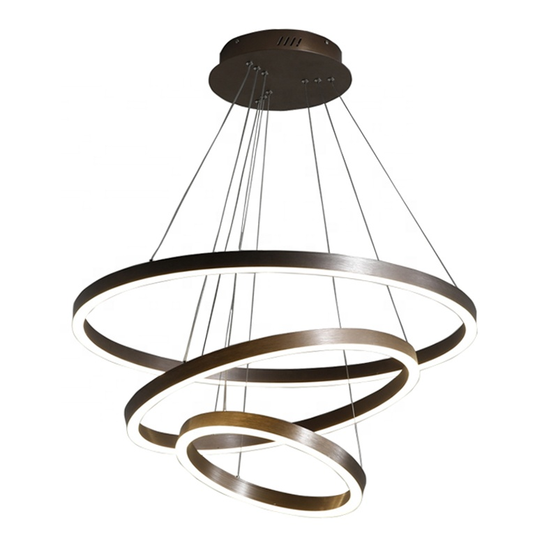 Nordic minimalist LED chandelier, creative three-ring light, can be installed and used in clothing stores, coffee shops, hotels