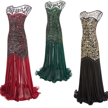 S-XL Women 's 1920s Black Sequin Gatsby Maxi Long Evening Prom Dress Black Green Red Gold Nude