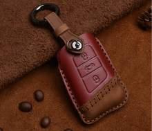 Модный автомобильный чехол для ключей из натуральной кожи для VW Passat B8 CC Magotan Smart Remote Key Protect accessories(China)