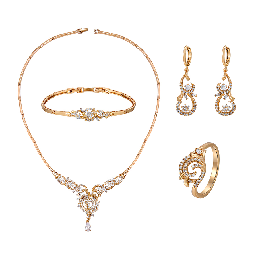 65802 Xuping luxury multi stone design 18k gold plated star and flower jewelry set