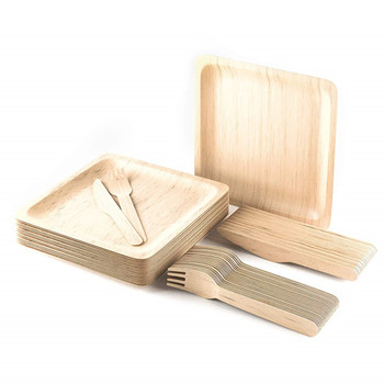 Natural Wooden Plates Disposable Wood Sushi Dish Serving Tray