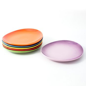 Oval colorful ceramic dinner plate custom glaze food serving cheap stackable plate for restaurant