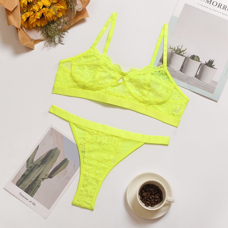 Newest Good Quality Colorful Hot Transparent Lace Sexy Women Underwear Lingerie Set