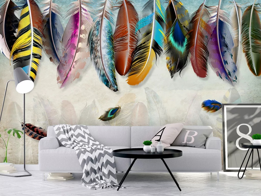 American minimalist fashion colorful hand drawn feather texture art background wall wallpaper