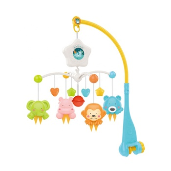 Newborn Infant Sleeping Bed Bell Toys Electric Light Projection Box Hanging Rattle Bracket Holder Baby Crib Musical Mobile Toys