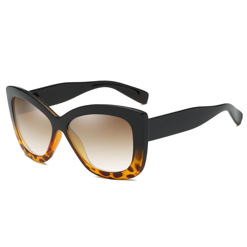 PC 렌즈 여성 선글라스 2020 패션 두 톤 레오파드 대형 태양 안경 Oculos Sol Feminino