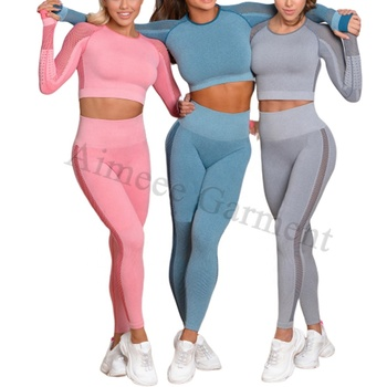 Womens Gym Wear Workout Mesh Crop Top and Leggings Seamless Yoga Set