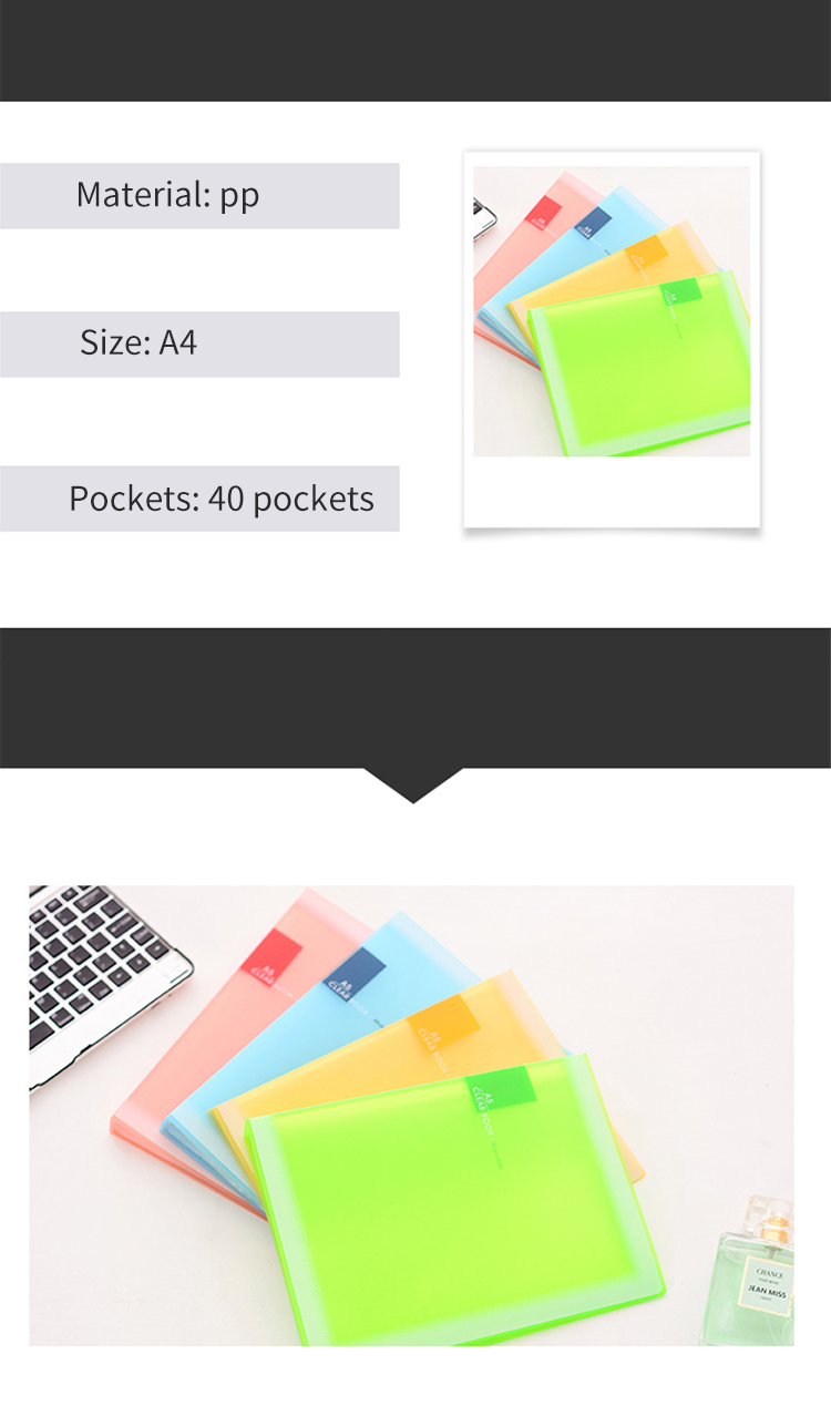 Hot Sale Waterproof Book Cover Candy Color PP Display Book A5 File Folder A5 Clear Book