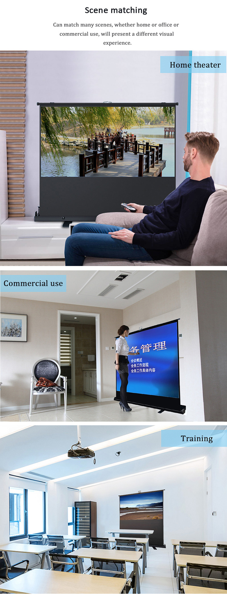"60"" 4:3 Portable Floor Pull Up Projection/Projector Screen Aluminium Case Cinema"