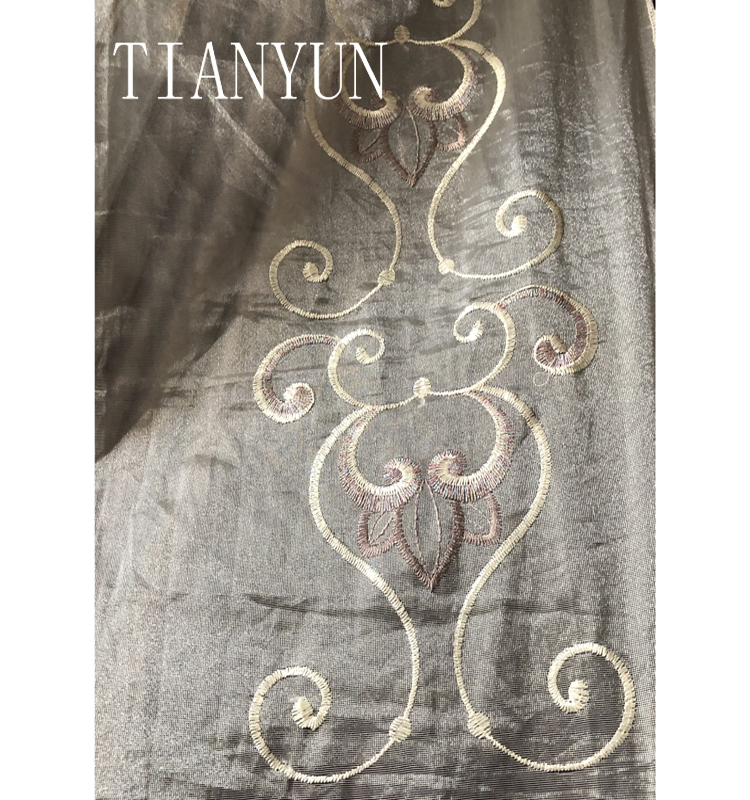 Italian Style Golden Metallic Embroidery Voile and Sheer Curtain Fabric