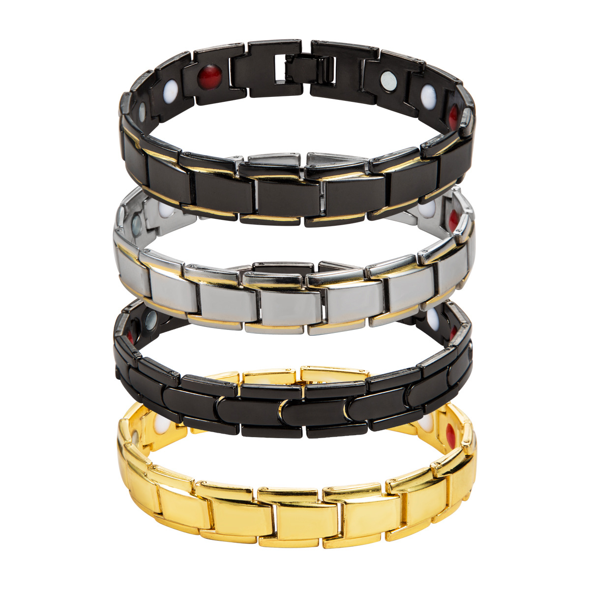 4 Color Available <strong>Magnetic</strong> Hematite Ion <strong>Energy</strong> Germanium <strong>Bracelets</strong> Titanium Stainless Steel Bio Therapy <strong>Bracelets</strong> for Men